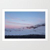 winter sunset in iceland Art Print