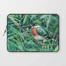Green Kingfisher in Nature, green design Laptop Sleeve