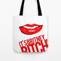 britney Tote Bags featuring Britney Lips by Tadeu Marques