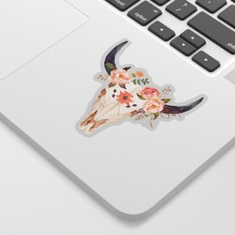 Bull Head Skull Boho Flowers Sticker