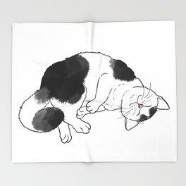 Cat Rolling and Purring Throw Blanket