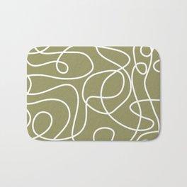 Doodle Line Art | White Lines on Khaki/Olive Green Bath Mat