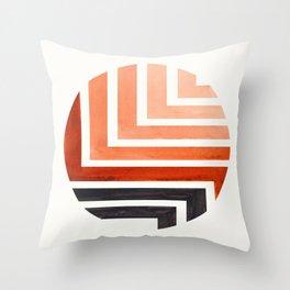 Burnt Sienna Circle Round Framed Mid Century Modern Aztec Geometric Pattern Maze Throw Pillow