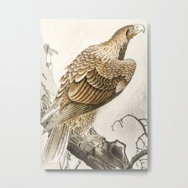 Golden eagle on the tree - Vintage Japanese woodblock print art Metal Print