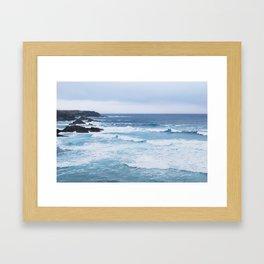 01. Blue Waves in Britain, Bretagne, France Framed Art Print