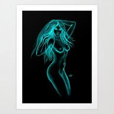 Woman Nude - Black and Green Design Art Print