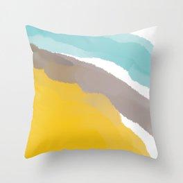 Watercolor Yellow Grey Blue Stripes Throw Pillow