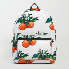Oranges and Orange Blossom California Citrus Pattern Painting on White Backpack
