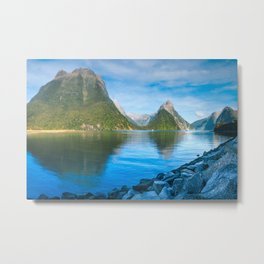 Serene Morning at Milford Sound Metal Print