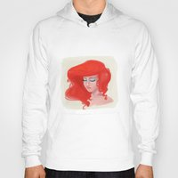 little mermaid Hoodies featuring Little Mermaid by Lucile MacBernik