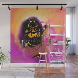 Black Female Warrior Empress Cloaked with Black and Gold Armor Wall Mural