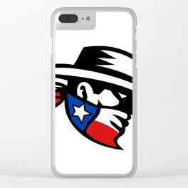Texas Bandit Cowboy Side Retro Clear iPhone Case