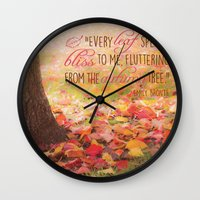 poem Wall Clocks featuring Autumn Leaves Poem by Graphic Tabby