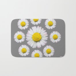 WHITE SHASTA DAISY FLOWERS  DECORATIVE GREY ART Bath Mat