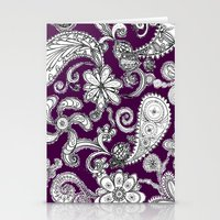 burgundy Stationery Cards featuring Burgundy by Marcela Caraballo