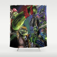 teenage mutant ninja turtles Shower Curtains featuring Teenage Mutant Ninja Turtles by artbywilliam