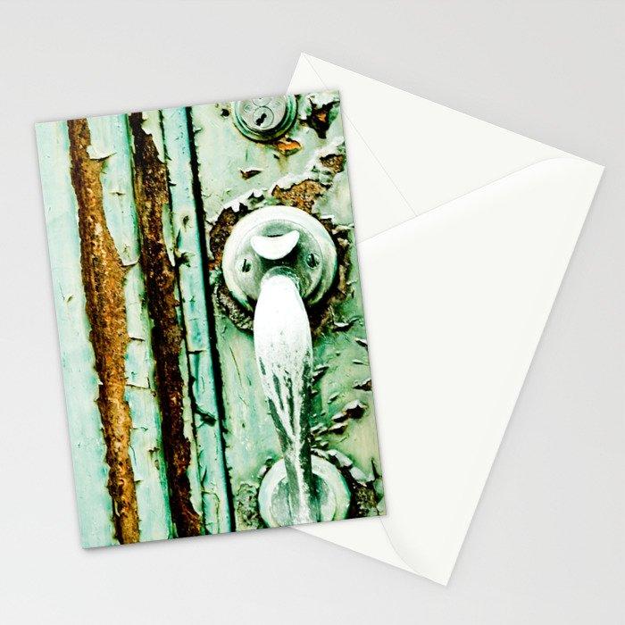 Green Door Handle, Peeling Turquoise Paint, Rusty Door Stationery Cards