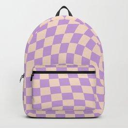 Check V - Lilac Twist — Checkerboard Print Backpack