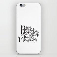 Books are a Uniquely Portable Magic BW iPhone & iPod Skin
