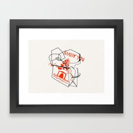 Chinese Food Takeout - Contour Line Drawing Framed Art Print