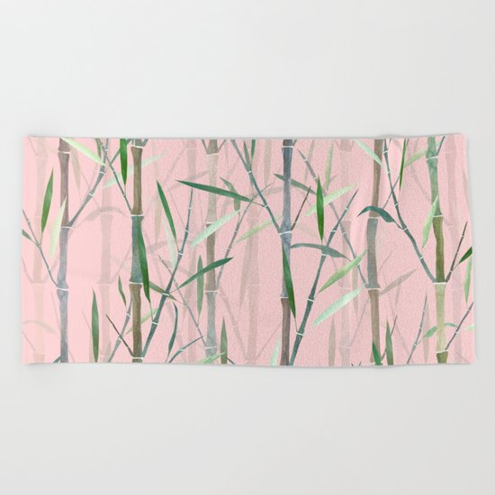 Bamboo Forest Pink Beach Towel