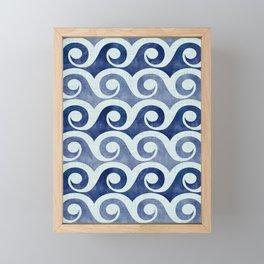 Retro Tropical Beach Waves - Indigo Blue Woodblock Framed Mini Art Print