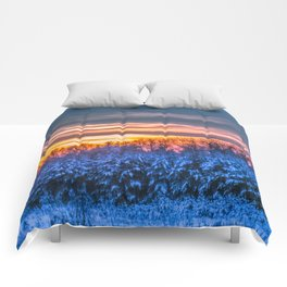Magic winter sunset Comforters