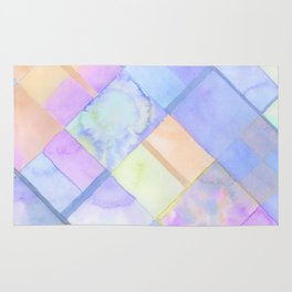 Geometric Watercolor Oranges and Blues Rug