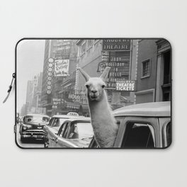 Llama Riding in Taxi, Black and White Vintage Print Laptop Sleeve