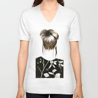 emma stone V-neck T-shirts featuring Emma  by Yaz Raja Designs
