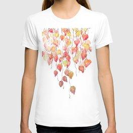 orange red crimson glory vine leaf watercolor T-shirt