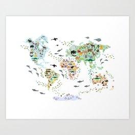 Cartoon animal world map for children, kids, Animals from all over the world, back to school, white Kunstdrucke