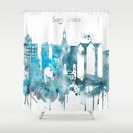 San Jose Monochrome Blue Skyline Shower Curtain