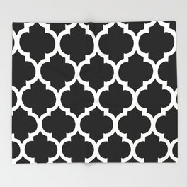 Moroccan Black and White Lattice Moroccan Pattern Throw Blanket