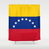 1989 Shower Curtains featuring The national flag of the Bolivarian Republic of Venezuela -  Authentic version by Bruce Stanfield
