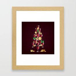 Happy Red Wine Tree Framed Art Print