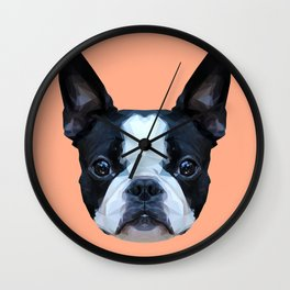 Frenchie / Boston Terrier // Peach / Apricot Wall Clock