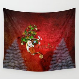 Christmas, Santa Claus with christmas tree Wall Tapestry