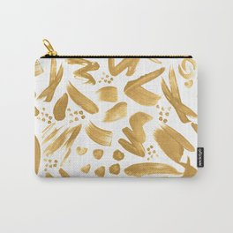 Modern abstract gold strokes paint Carry-All Pouch