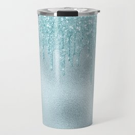 Ice Blue Mermaid Glitter Rain Travel Mug
