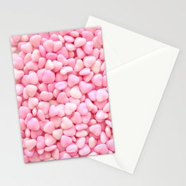 Pink Candy Hearts Stationery Cards