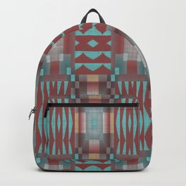 Coral Red Brown Turquoise Rustic Native American Indian Mosaic Pattern Backpack