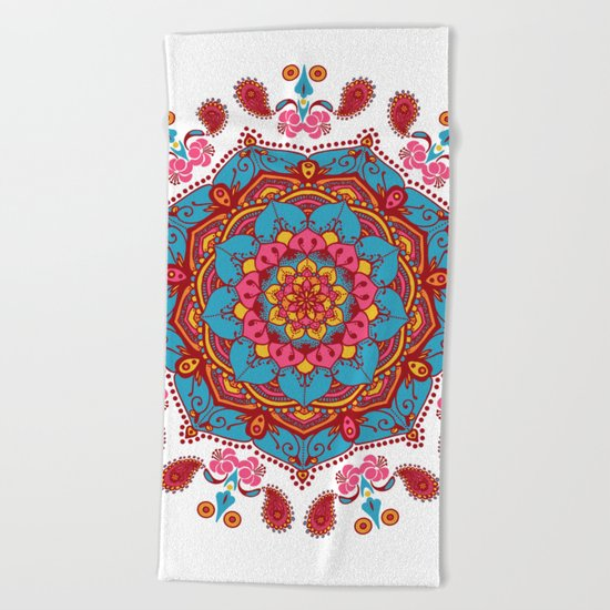Colourful Indian Flower Patterned Mandala Red Pink & Blue Beach Towel