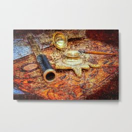 Vintage Looking Glass, Inkstand, Pen On A Map. Time To White A Story Metal Print