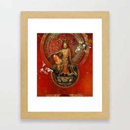 Kwanyin on Red Framed Art Print