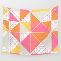 girly Wall Tapestries featuring Girly Geometry by micklyn