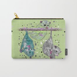 Green possum trio on a branch - Green Carry-All Pouch