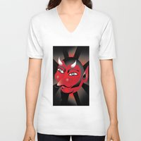 demon V-neck T-shirts featuring Demon by riomarcos