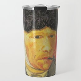Vincent Van Gogh Self Portrait with Bandaged Ear and Pipe 1889 Travel Mug