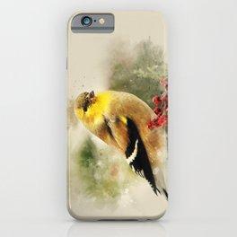 Goldfinch Watercolor Art iPhone Case